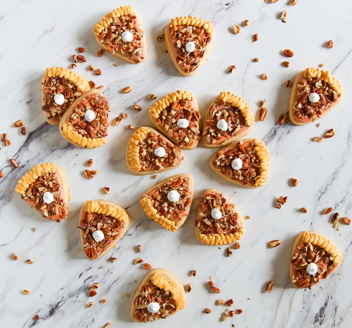 Pecan Pie Decorated Cookies + a recipe for Brown Sugar and Orange Cut-Outs