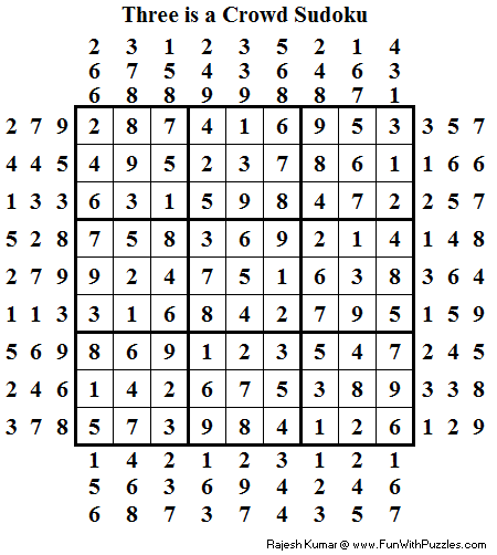 Three is a Crowd Sudoku (Daily Sudoku League #93) Solution
