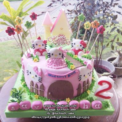 Kue Tart Fondant Hello Kitty Lucu Pink Imut
