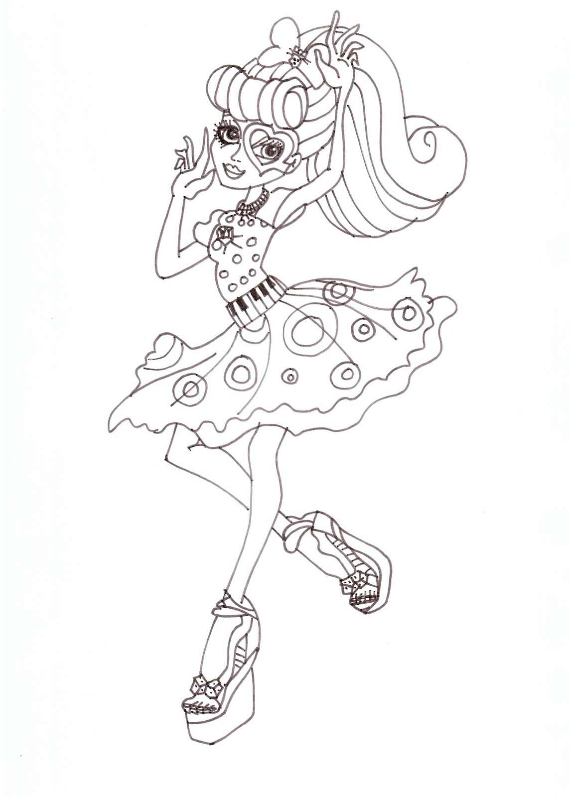 Free Printable Monster High Coloring Pages: Operetta Dot