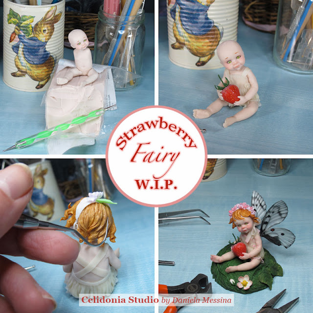 Strawberry Fairy - OOAK Art Doll in Polymer Clay by Celidonia - W.I.P.