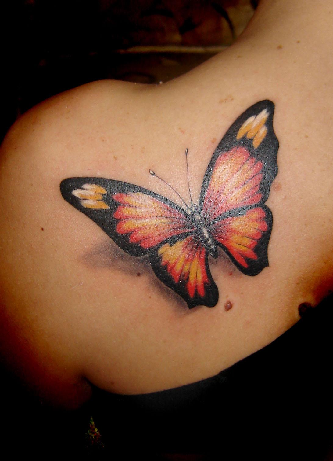 3d erfly tattoo design shadow flying freedom feminine girl idea beauty wings