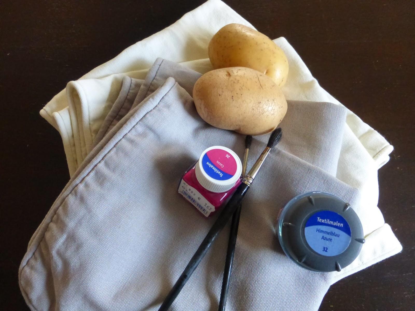 Materialien für DIY Kartoffeldruck Kissen bestempeln