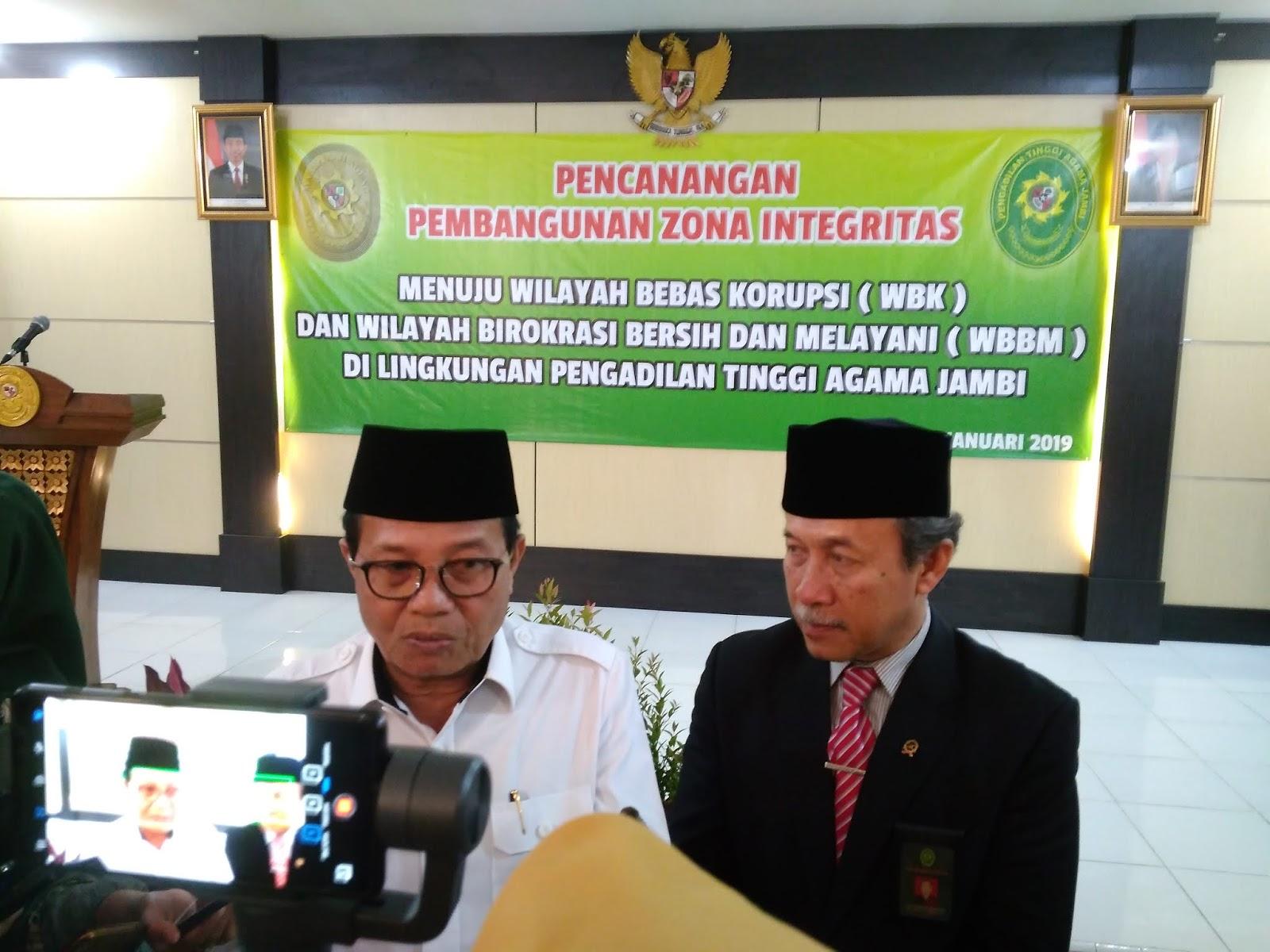 Plt Gubernur Jambi Dukung Pencanangan WBK Dan WBBM Di PTA Jam