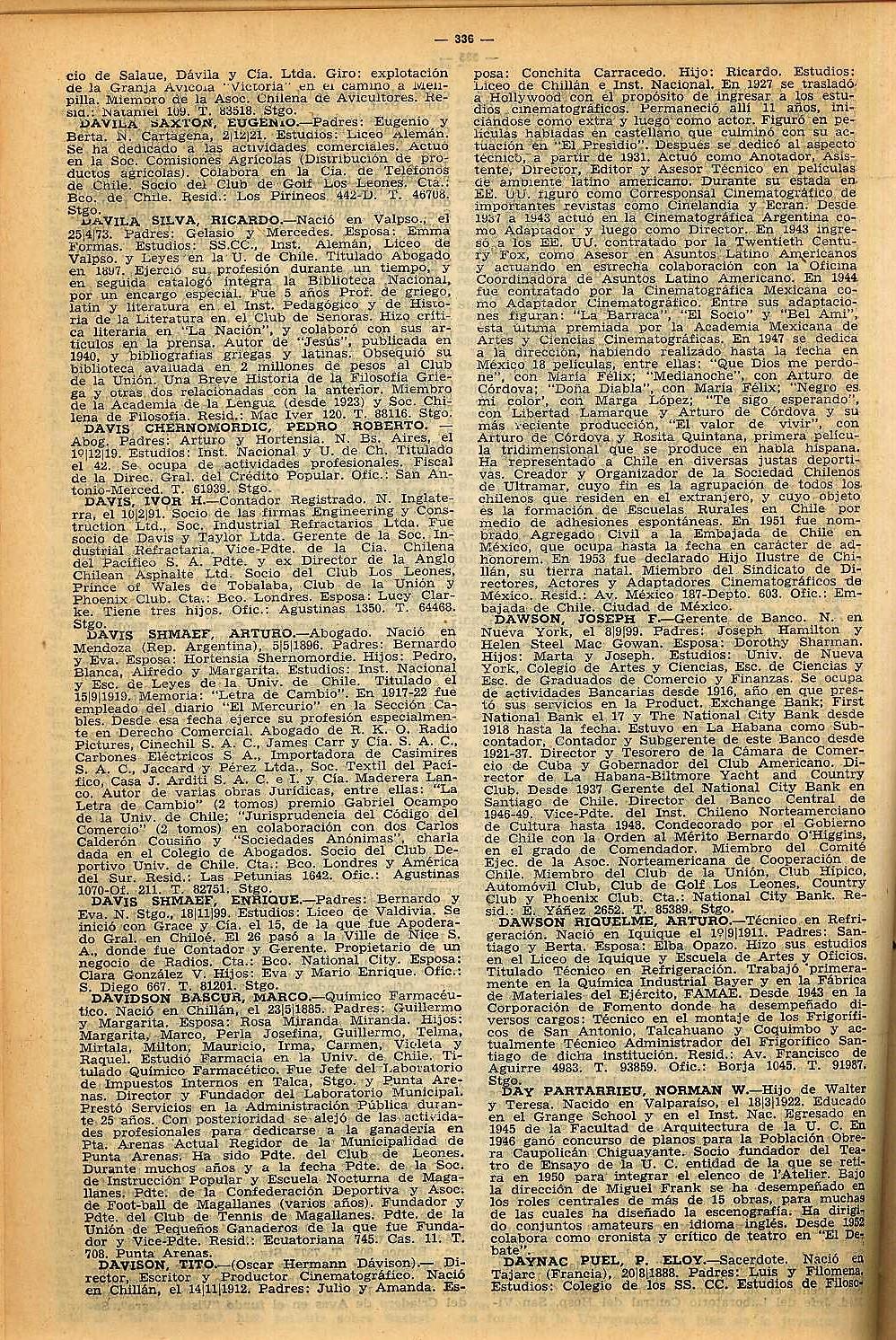 Diccionario Biográfico de Chile 9a Edición 1953: 336 DAVIS DAWSON