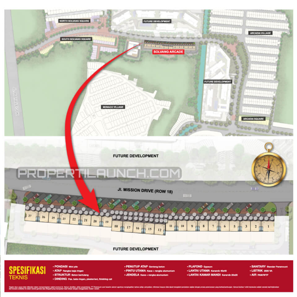 Peta Lokasi dan Site Plan Solvang Arcade Gading Serpong