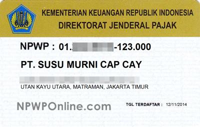 Contoh Kartu NPWP Badan Perusahaan