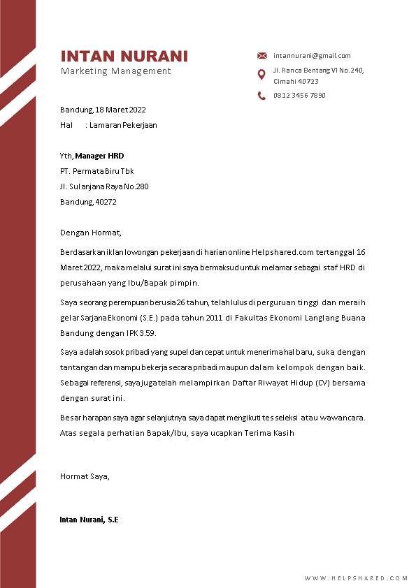 Contoh Surat Lamaran Kerja 6
