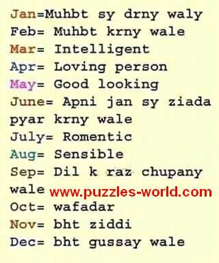 Apna Birth month Select kryn or apna mizzaj janiye.
