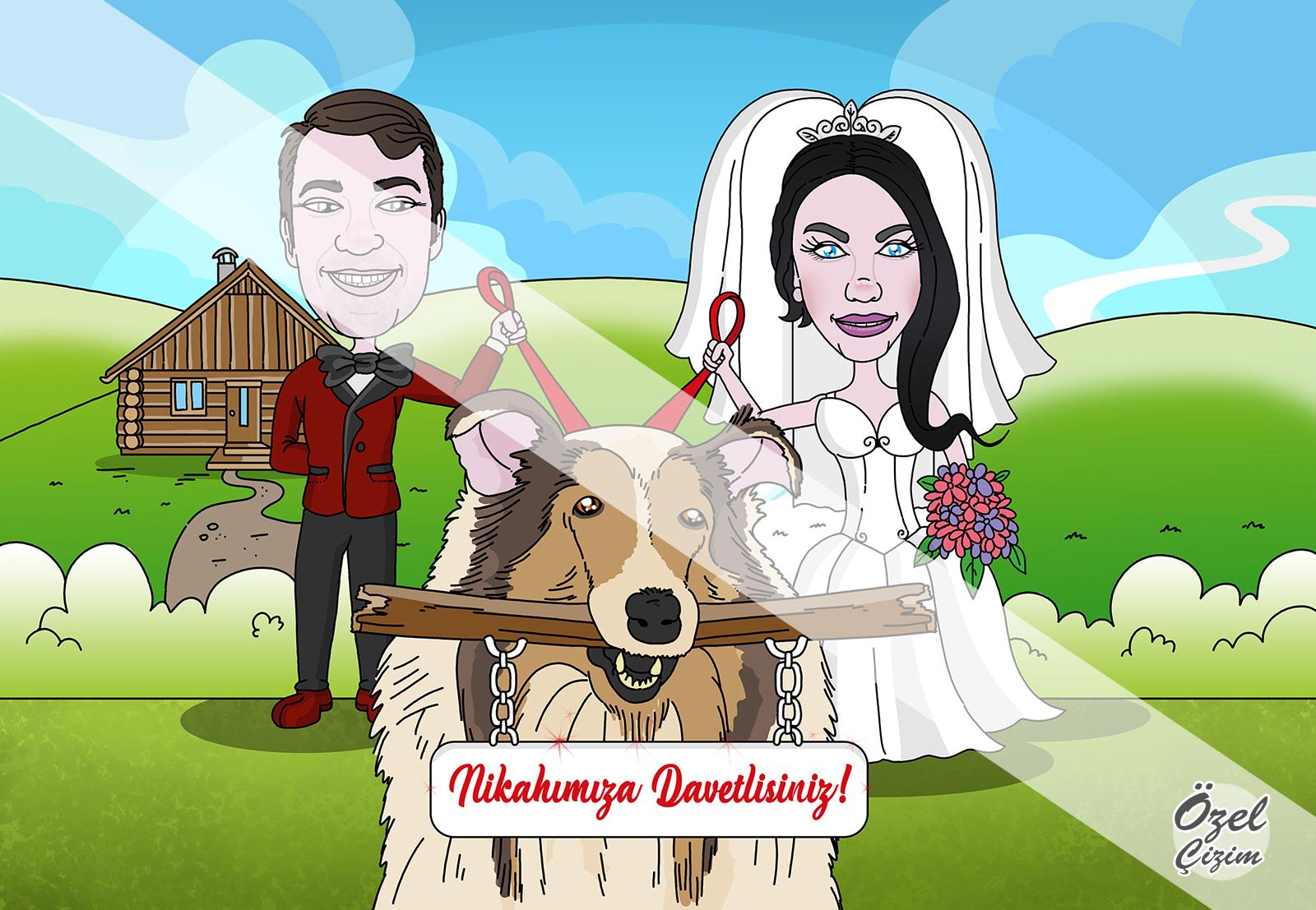 çift taraflı davetiye, düğün davetiyesi, karikatür, karikatürlü düğün davetiyesi, kişiye özel düğün davetiyesi, komik düğün davetiyesi, davetiye modelleri, davetiye, nikah davetiyesi, özel çizim