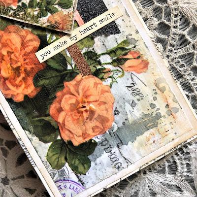Sara Emily Barker https://sarascloset1.blogspot.com/2019/03/super-easy-tim-holtz-floral-collage.html Vintage Card Tutorial #timholtz #idealogycollagepaper #floral #ranger #distress 6