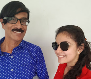Keerthy Suresh in Red Dress with Cute and Awesome Lovely Smile with Manobalam Latest Selfie