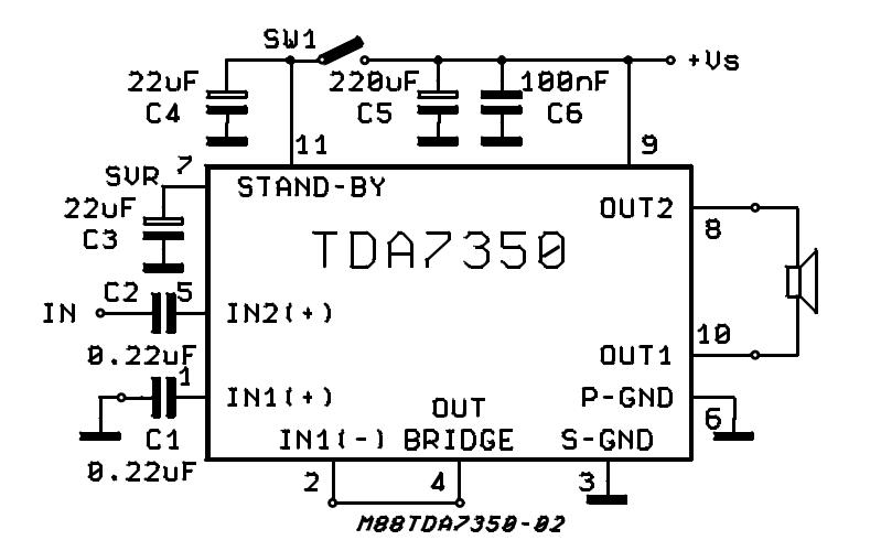 22W BRIDGE STEREO AMPLIFIER FOR CAR RADIO TDA7350