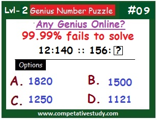 Math Puzzle: Find the missing number:  If 12 : 140 :: 156 : ?
