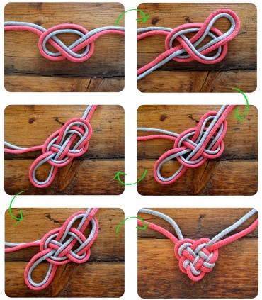 Pero hay otra pulsera a base de nudos con forma de corazón muy original también si queremos hacer otra técnica y es esta ¡hermosa! ¿verdad?