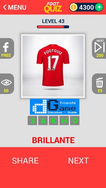 FootQuiz Calcio Quiz Football ( SHIRT) soluzione livello 41-50