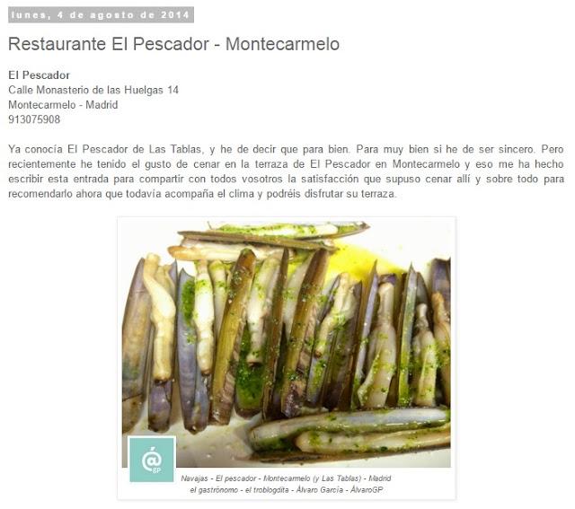 Restaurante El Pescador - Montecarmelo - Lo + leído en el troblogdita - marzo 2016 - Álvaro García - ÁlvaroGP - el troblogdita - el fancine - el gastrónomo - @repaci31