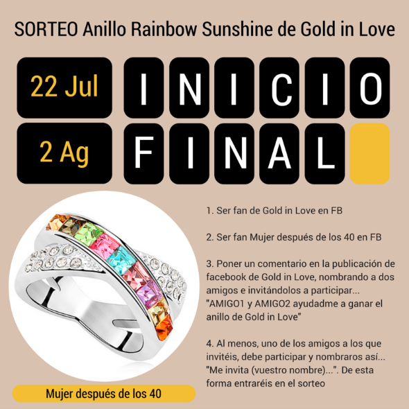 sorteo gold in love anillo rianbow sunshine mujer despues 40