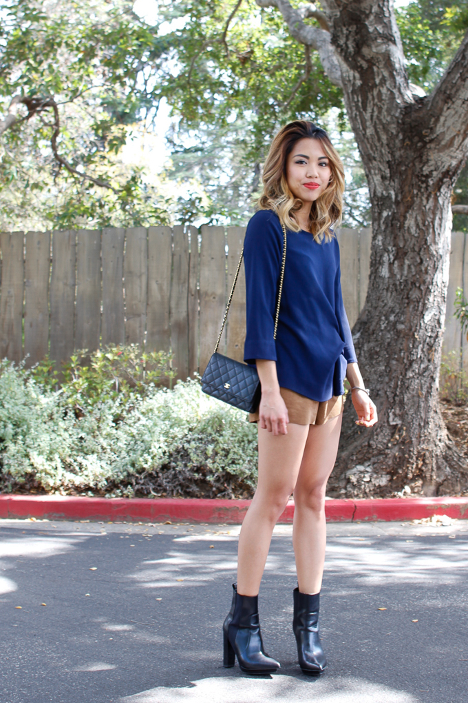 styling suede shorts for fall