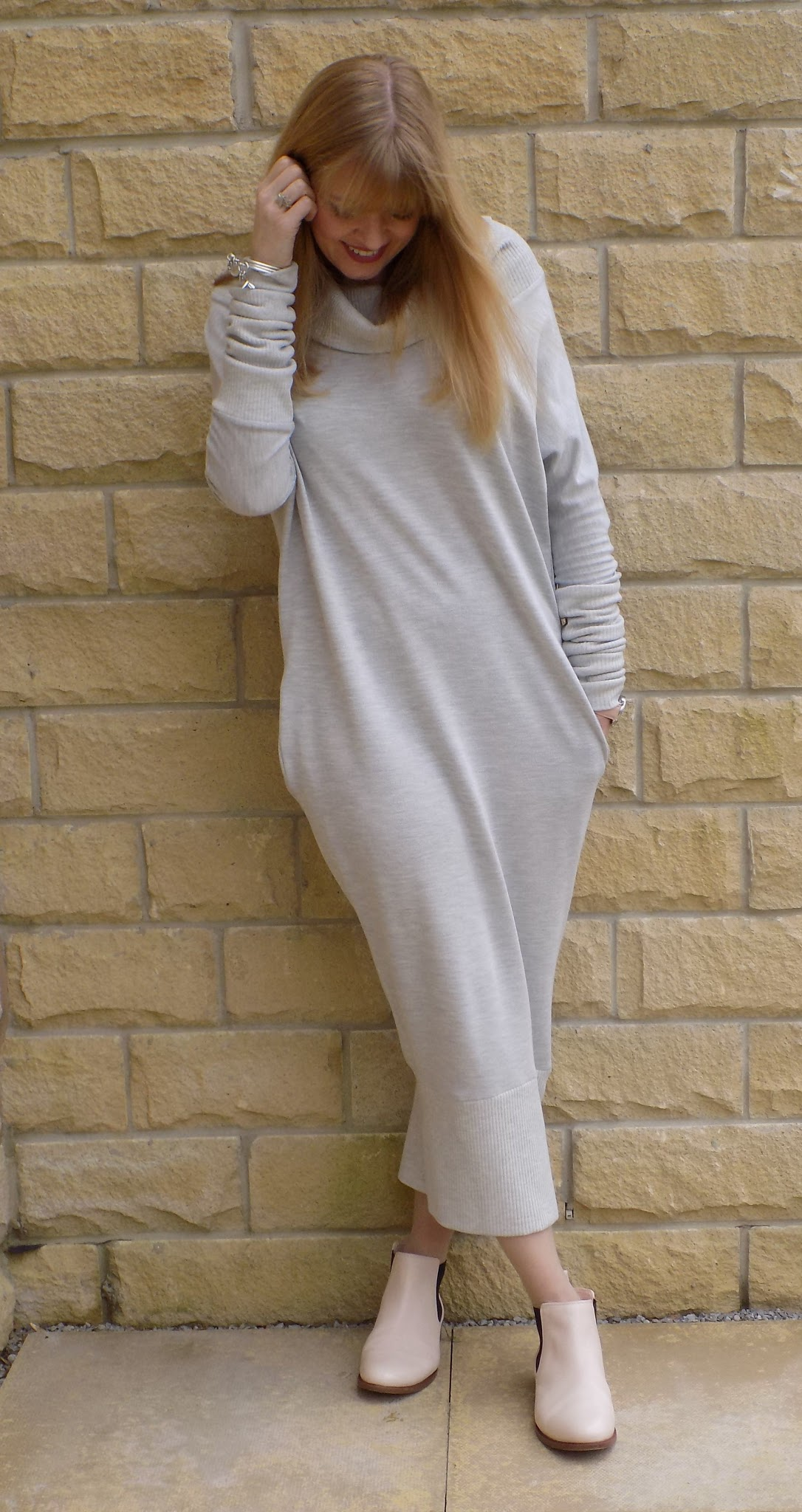 Monks on Vacation sweat dress with nude pink Chelsea boots