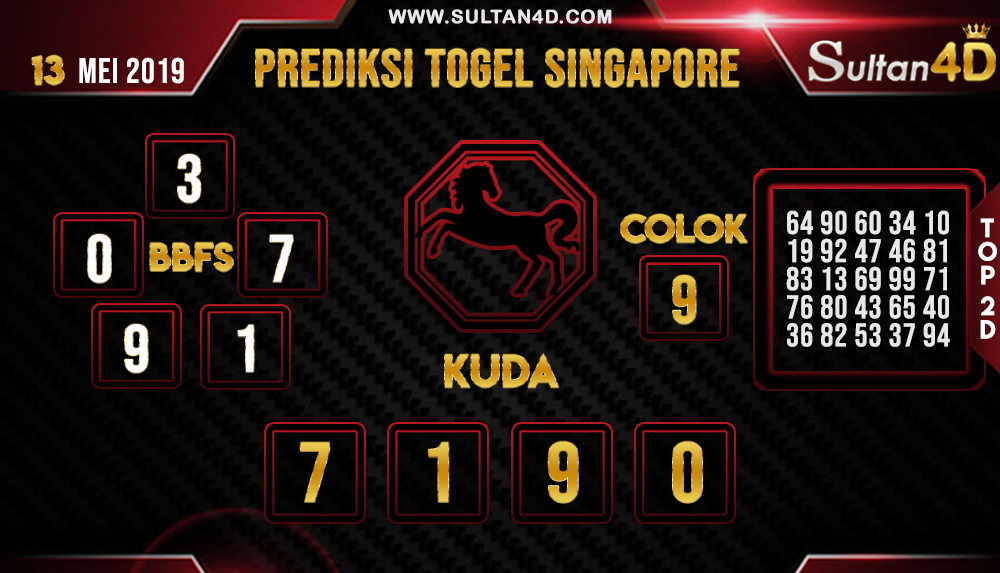 PREDIKSI TOGEL SINGAPORE SULTAN4D 13 MEI 2019