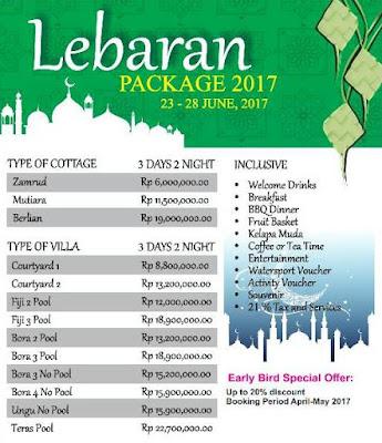 Harga Lebaran Paket Tanjung Lesung 2017 Villa Cottage Hotel dan Home Stay