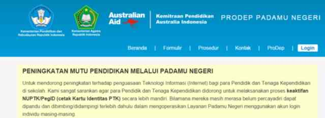 Gambar halaman utama website padamu negeri