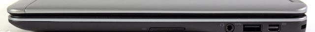 Cạnh phải: đầu đọc thẻ, âm thanh, USB 3.0, Mini DisplayPort, Kensington