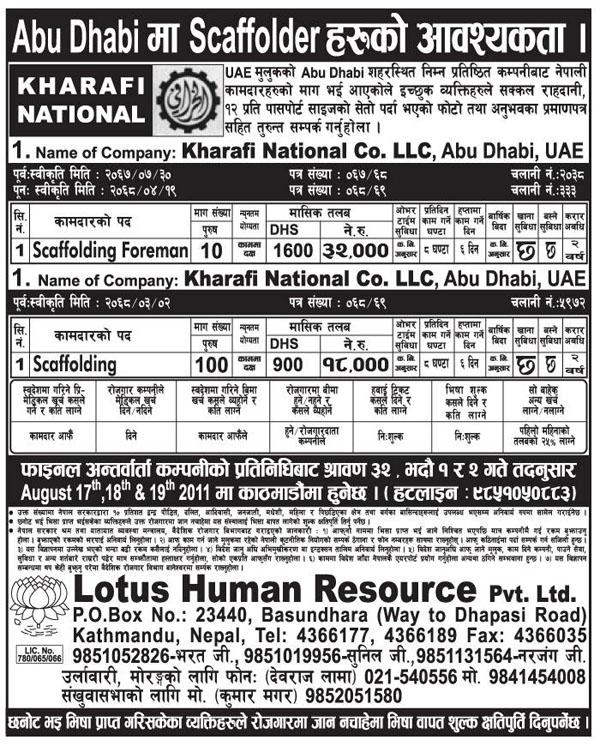 Manpower Demand: Kharafi National Co  LLC