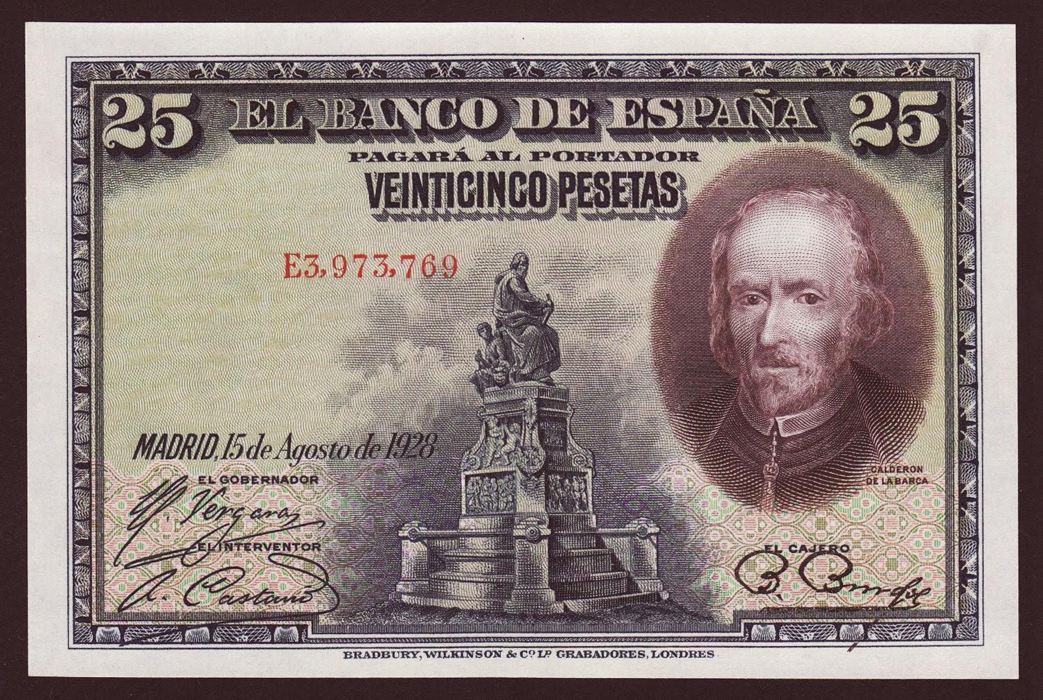 Spain Banknotes 25 Pesetas banknote 1928 Pedro Calderon de la Barca