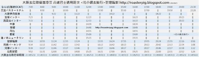 大阪難波OCAT去鳥取班次
