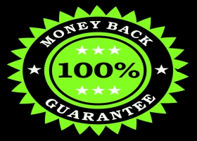 Money-back guarantee seal.