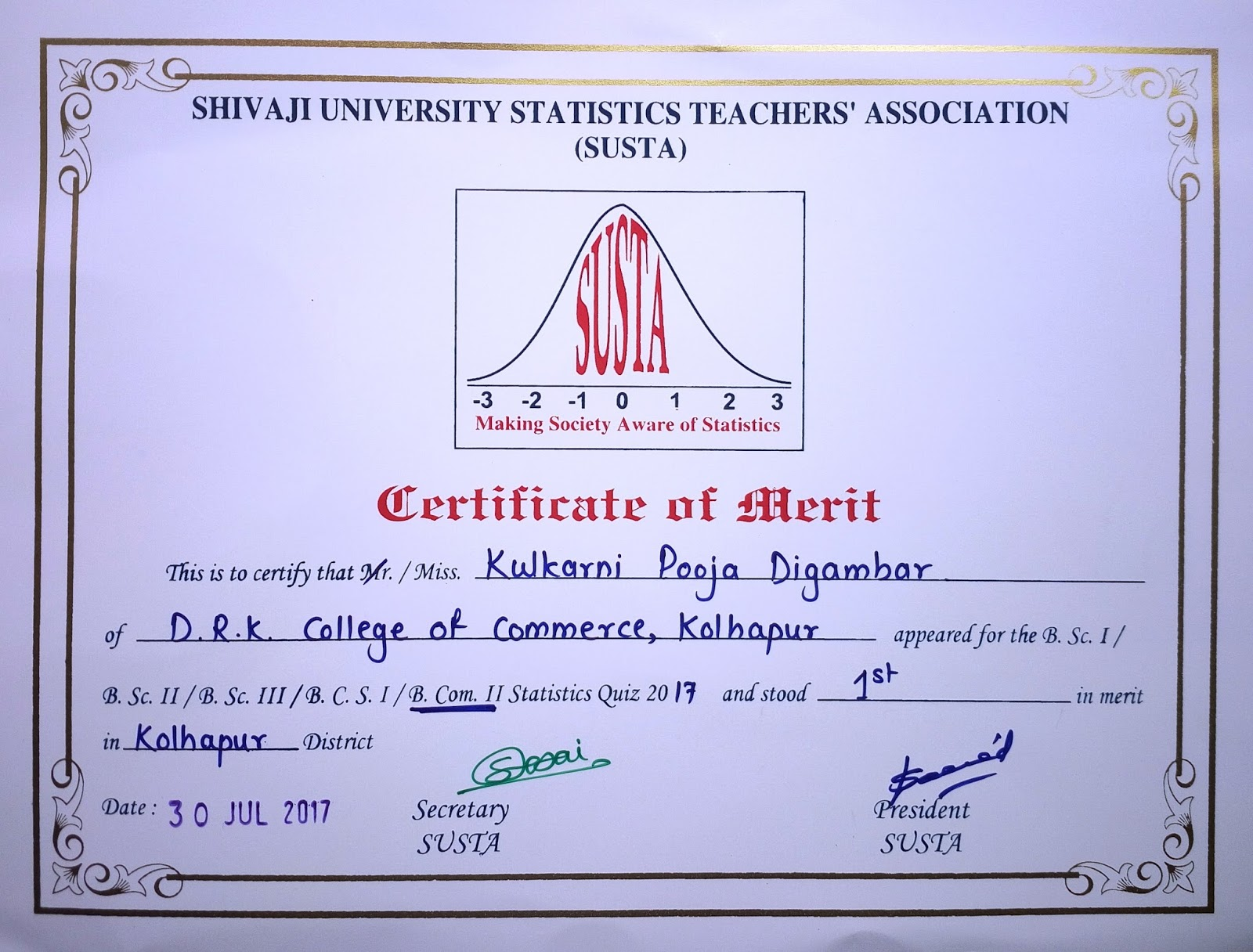 Department of statistics drk college of commerce kolhapur susta basic statistics quiz 2017 prize winners 1betcityfo Choice Image