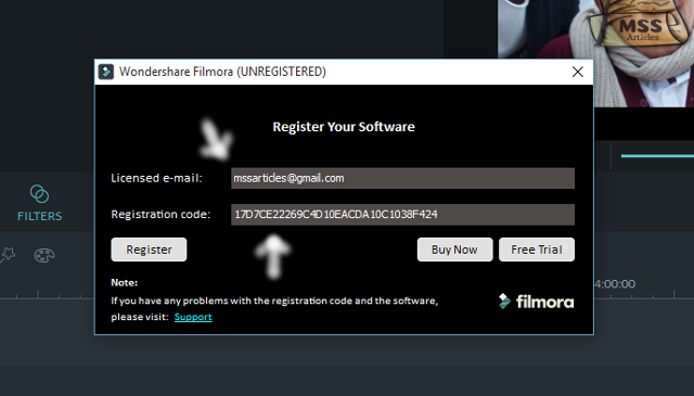 Enter your e-mail and this registration code.