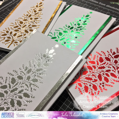 its julie here back on the blog today sharing some clean and simple christmas cards using the gopress foil machine from couture creations - Foil Christmas Cards