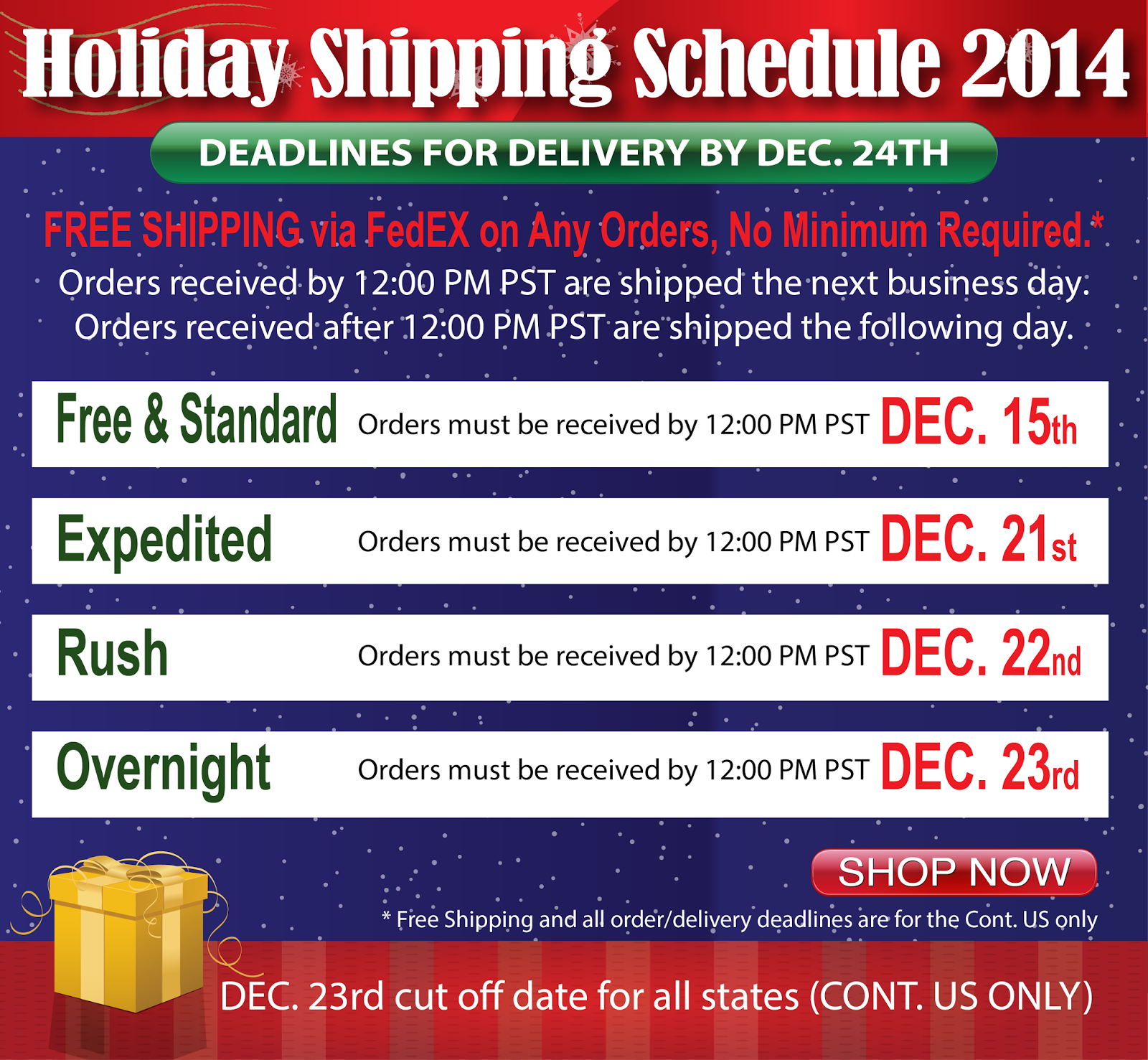 Christmas 2014 Order/Delivery Deadlines