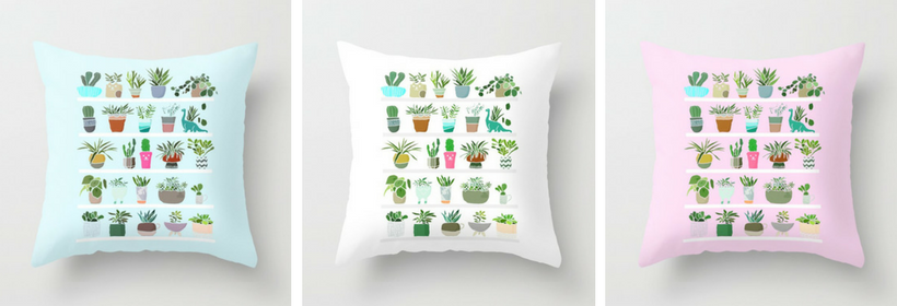 Illustrated succulent pillows