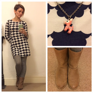 Boden tunic dress and Hallhuber boots