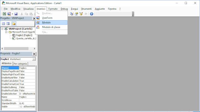 Excel, VBA Inserisci Modulo