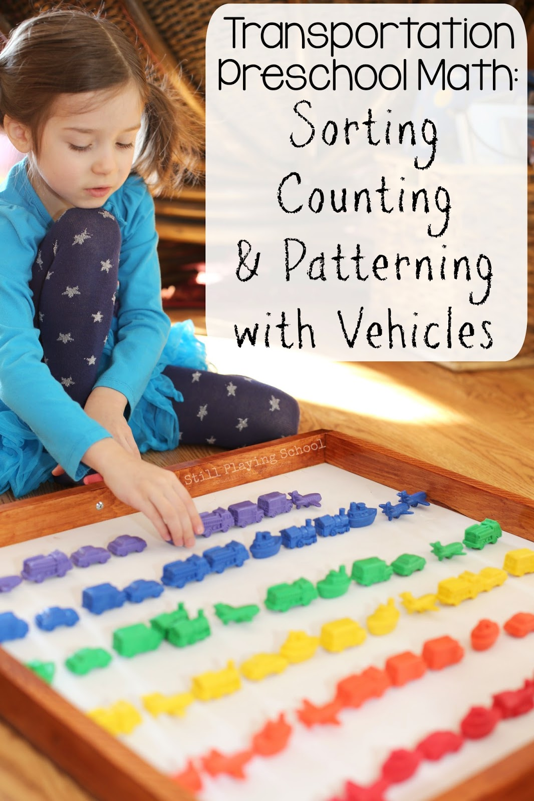 transportation math sorting counting and patterning with vehicles still playing school. Black Bedroom Furniture Sets. Home Design Ideas