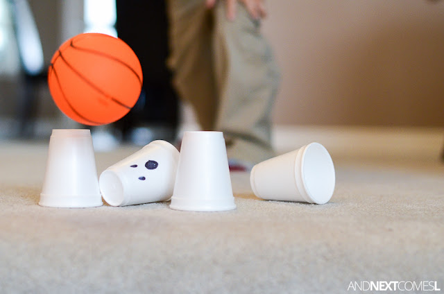 Halloween bowling game idea for kids from And Next Comes L