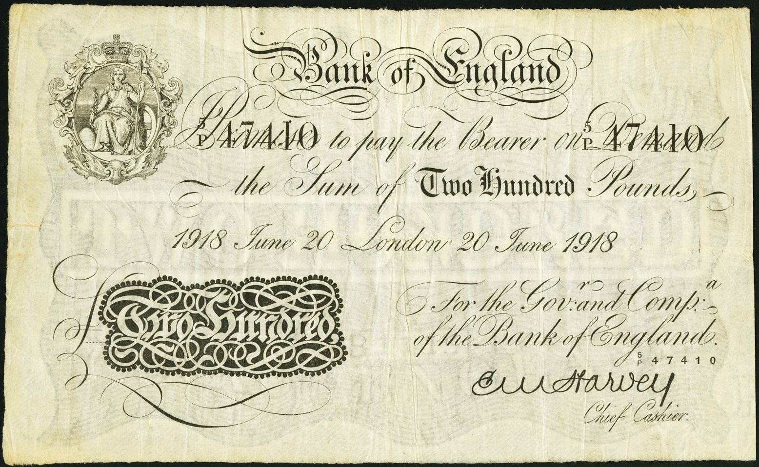 great britain 200 pound sterling white note 1918 bank of england world banknotes coins. Black Bedroom Furniture Sets. Home Design Ideas