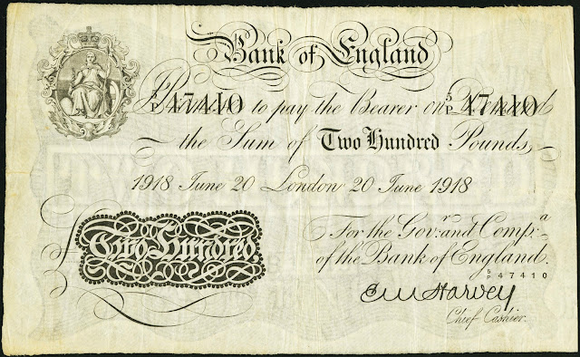 Great Britain 200 Pound Sterling White Note 1918 Bank of England