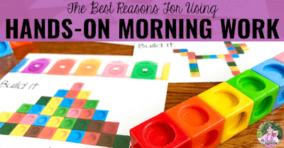"Math activities with text, ""The best reasons for using hands-on morning work."""