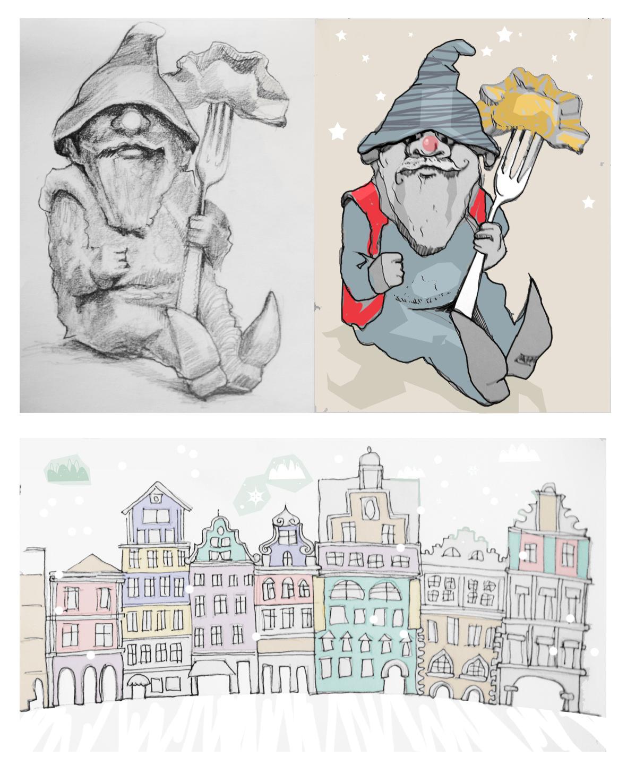 kamieniczki dla dzieci krasnale krasnoludki Urbaniak pastel dwarf crayon illustration for child book story poems