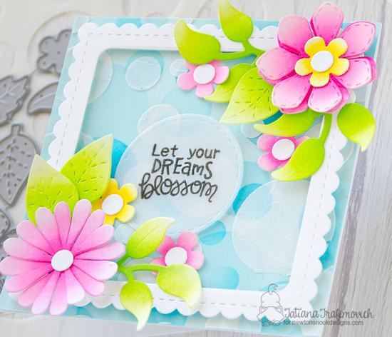 Fun Floral Card by Tatiana Trafimovich | Flower Trio and Frames Squared Die Sets and Bokeh Stencil by Newton's Nook Designs #newtonsnook #handmade