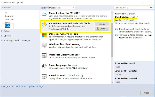 Azure Functions and Web Jobs Tools