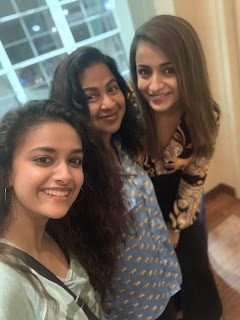 Keerthy Suresh with Radhika Mam and Trisha at SIIMA Awards 2019