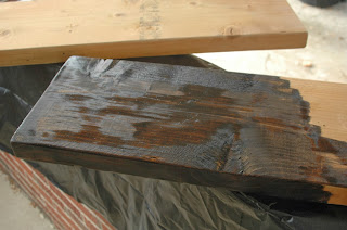Staining wood boards for pipe shelves