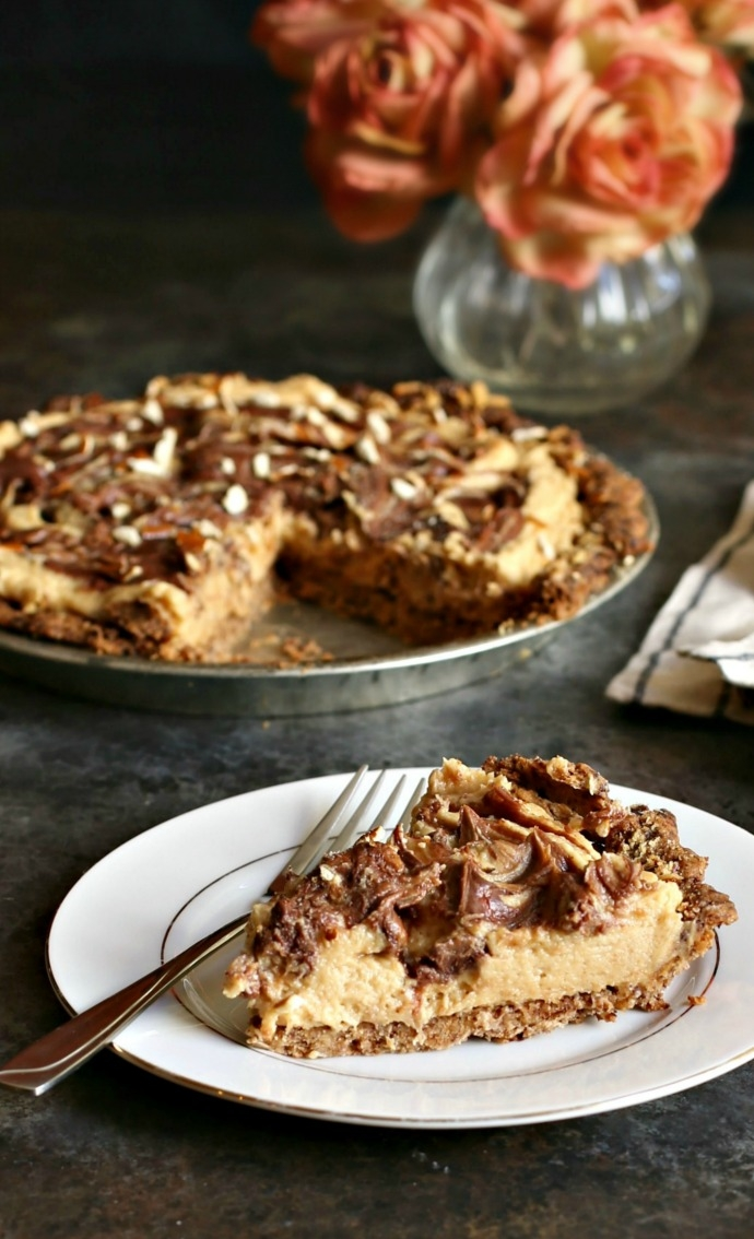 Recipe for a peanut butter mousse pie with a chocolate covered pretzel crust.
